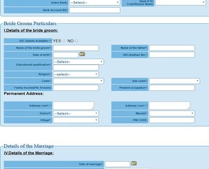 Kalyana Lakshmi Scheme Application Form bride Groom Particulars