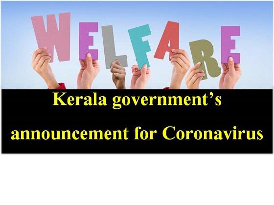 Kerala government announcement for coronavirus